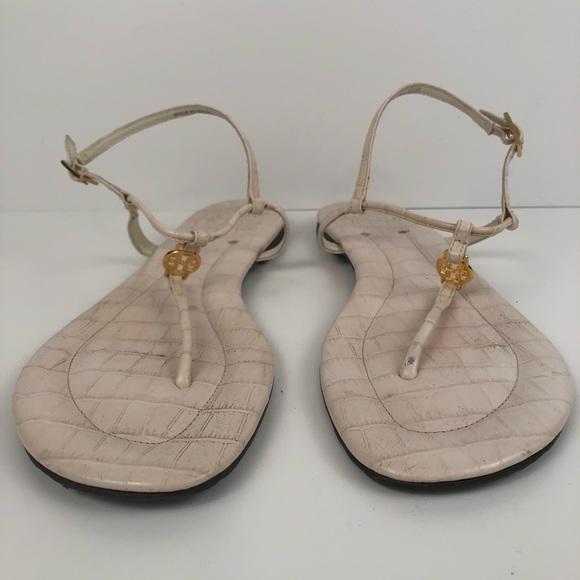 26b15e7fb Tory Burch Emmy Flat Thong Sandals Ivory Croc Gold.  M 5ab92f8536b9de12310a1692
